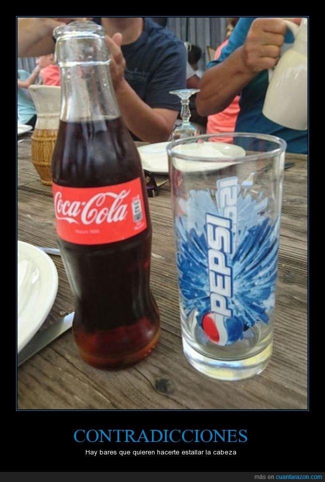 botellla,cocacola,contradicción,enemigos,Pepsi,restaurante,rivalidad,vaso