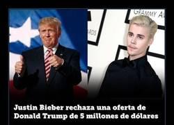 Enlace a Justin Bieber suda de Donald Trump e Internet lo aplaude