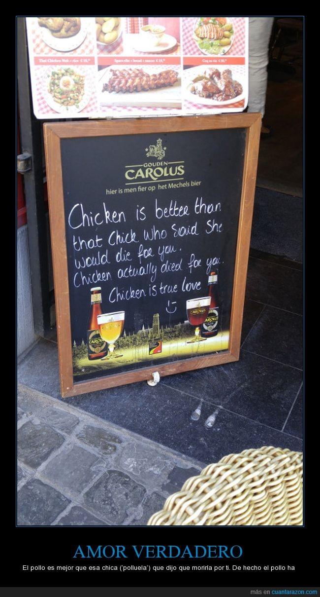 cartel,chick,chicken,pollo