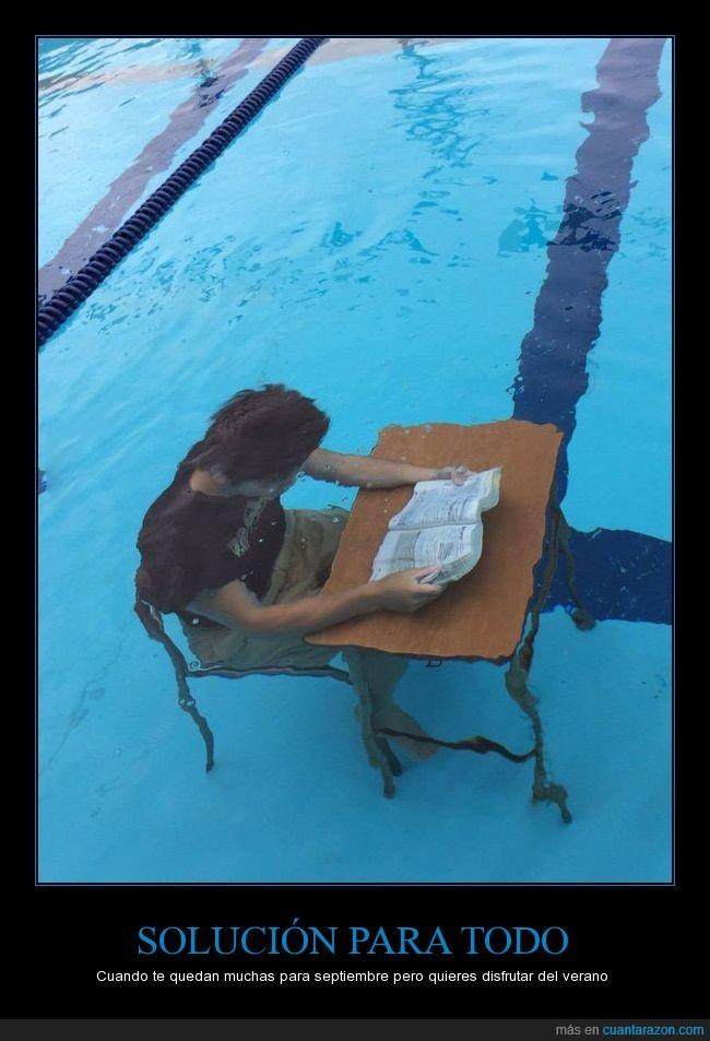 bajo el agua,estudiar,mesa,piscina,pupitre