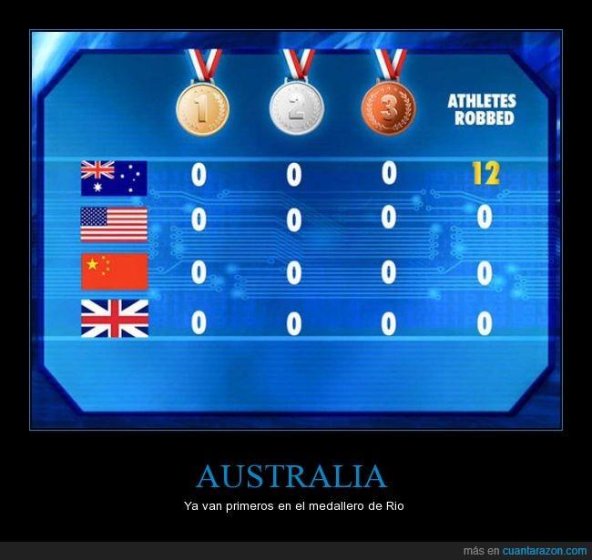 australia,medallero,olimpiadas,robatorios