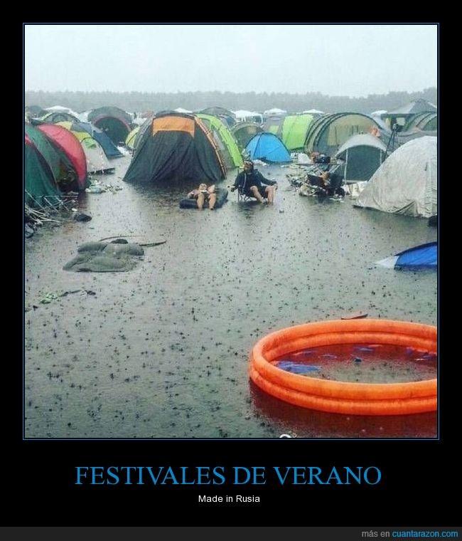 camping,casas de campaña,inundación,lluvia