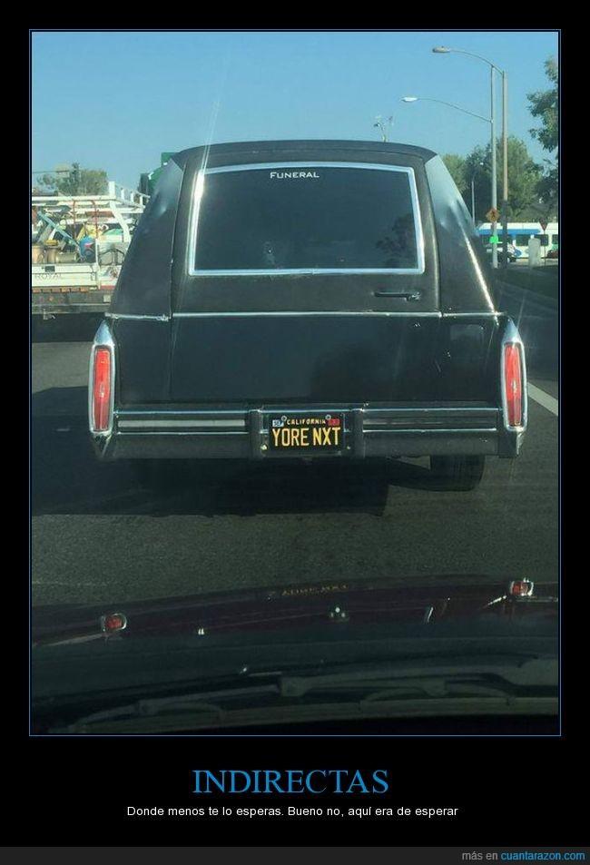 coche funebre,matrícula,mensaje,placa,yore next