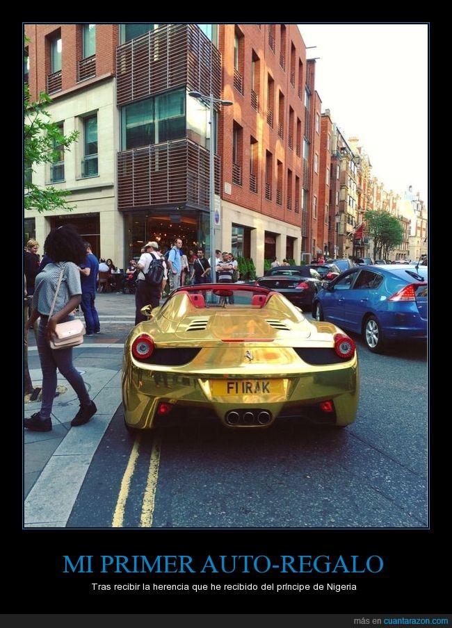 coche,dorado,estafa,ferrari,hoax,príncipe de nigeria
