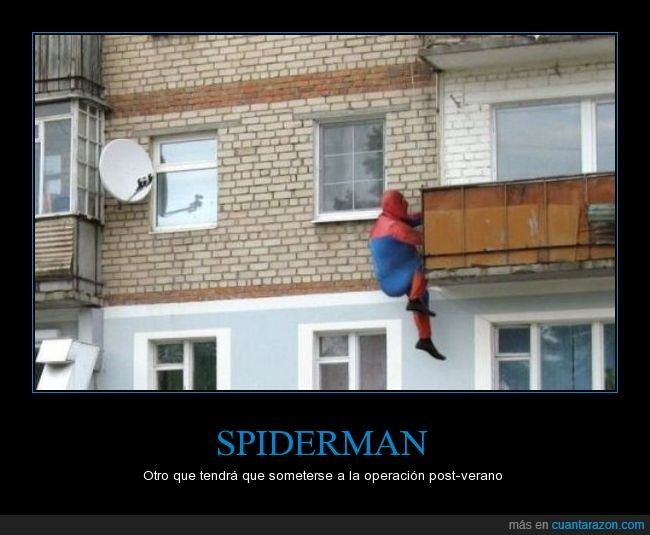 balcón,gordito,peso,spiderman