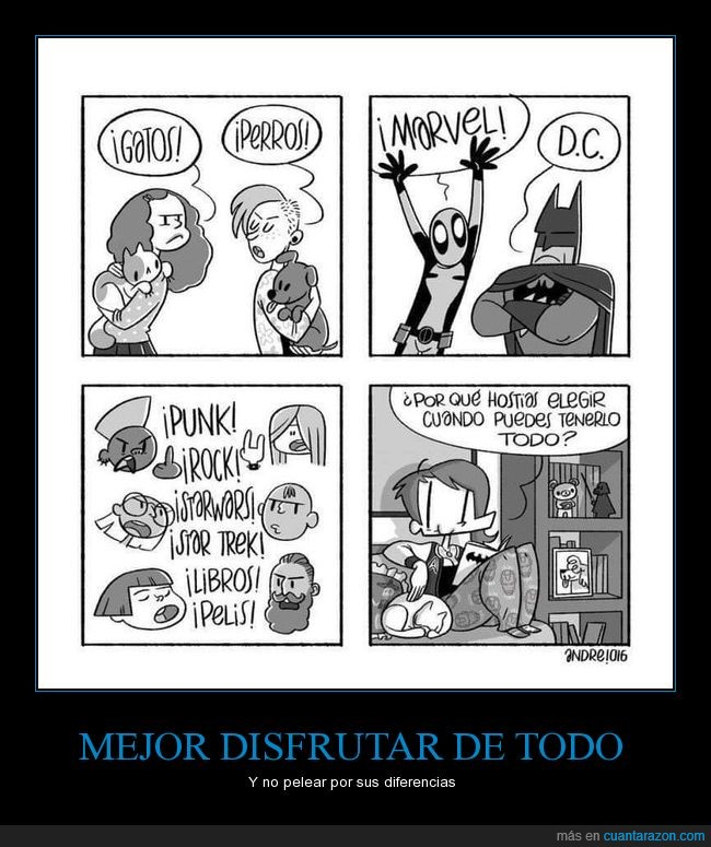 DC,diferencias,disfrutar,gatos,libros,Marvel,películas,perros,punk,rock,star trek,star wars,todo