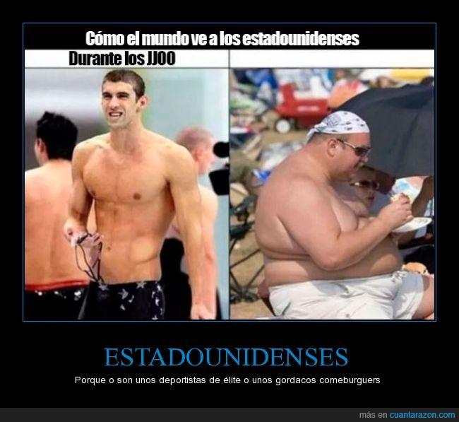 americano,comer,estadounidenses,gordo,hamburguesa,juegos olimpicos,Michael Phelps,norteamericano,olimpiadas