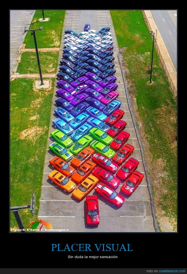 arcoiris,coches,colores,cromatico,orden,placer,visual