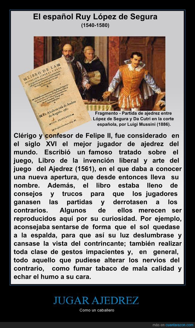 ajedrez,López de Segura,molestar,trucos