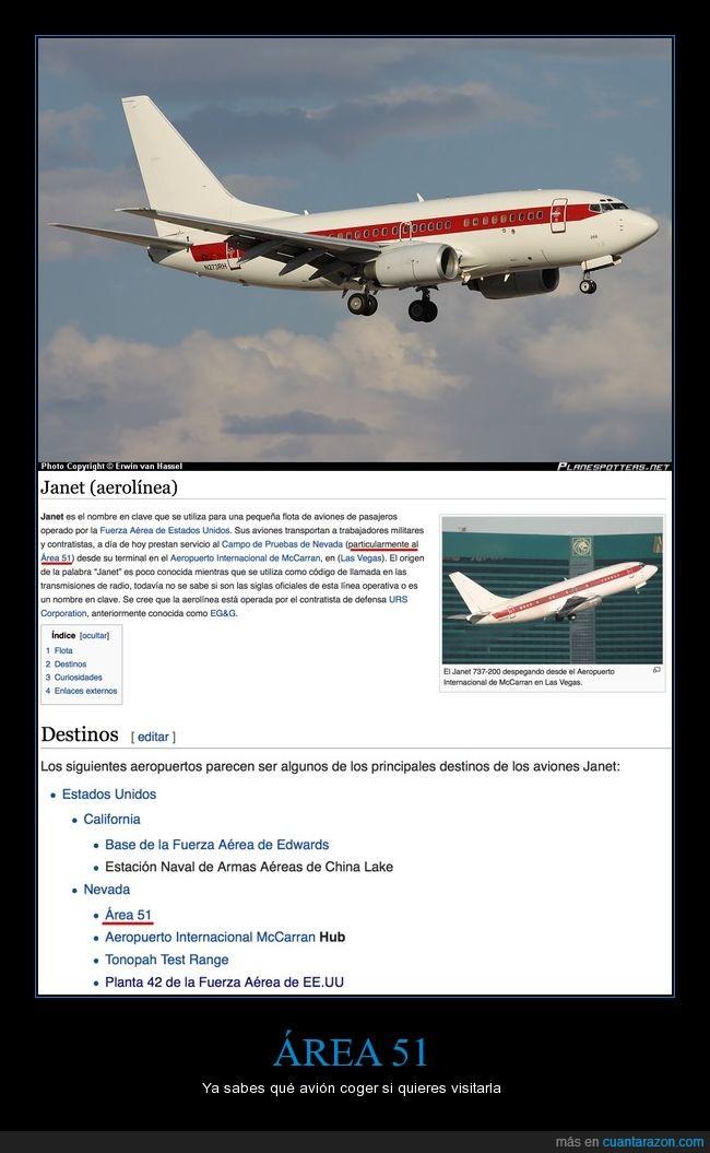 aerolinea,Área 51,Área 51 ciudad de vacaciones,avión,base,E.T.,militar,secreto