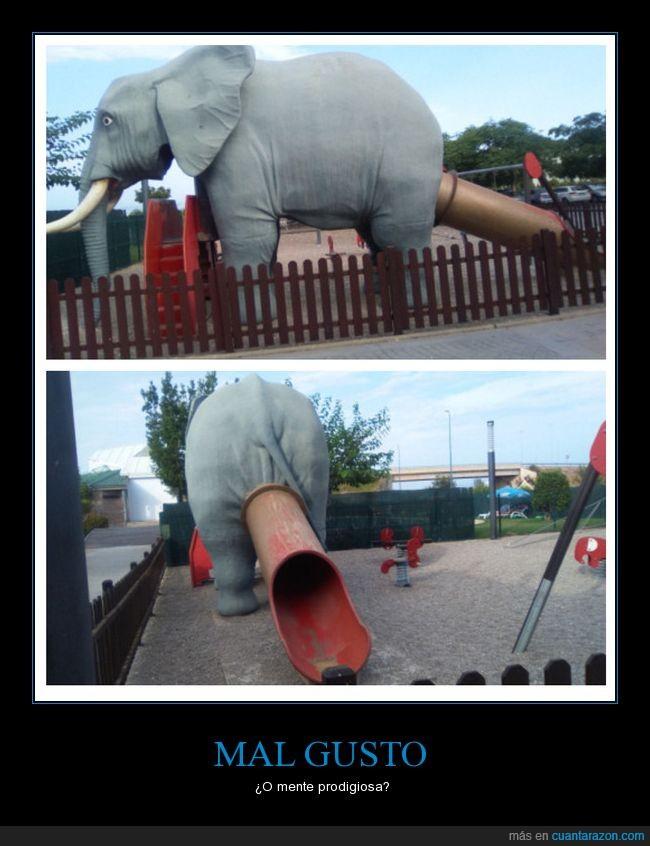 elefante,excremento,tobogán