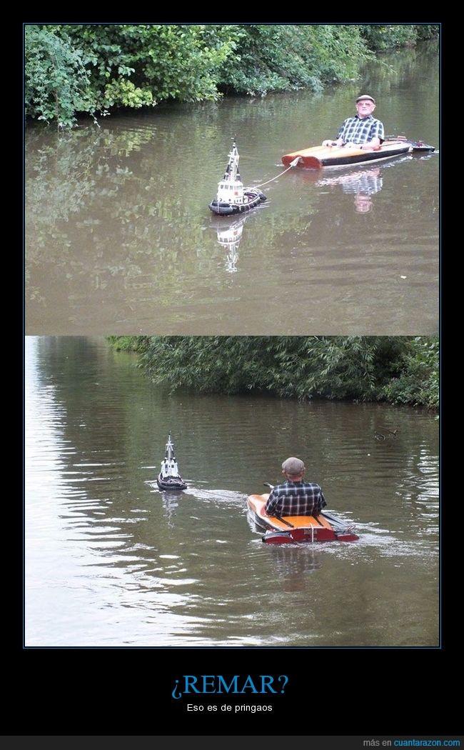 abuelo,barco,bote,canoa,control,hombre,llevar,remoto,señor