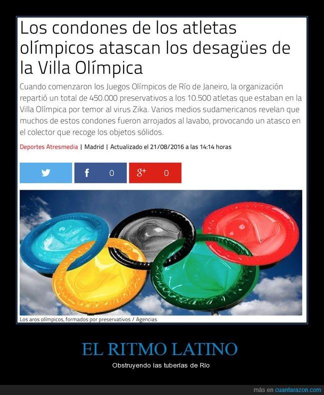 Brasil,Deportistas,Diversión,Fornicio,Me Río de Janeiro,Olimpiadas,preservativos,Rio de Janeiro,tuberías