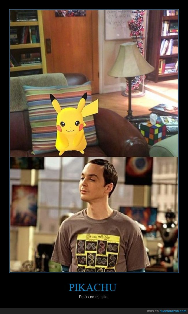 estas en mi sitio,instagram,pikachu,pokemon go,sheldon cooper,the big bang theory