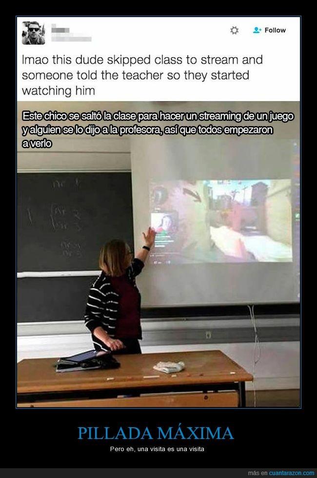 alumno,clase,niño,pillada,pillar,profesora,streaming,videojuego