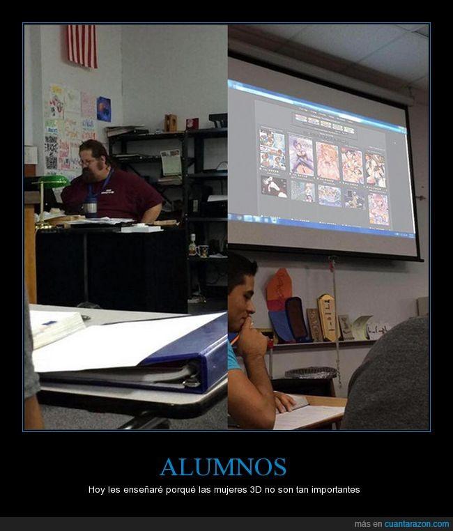 3D,alumnos,anime,clase,profesor,proyector,universidad