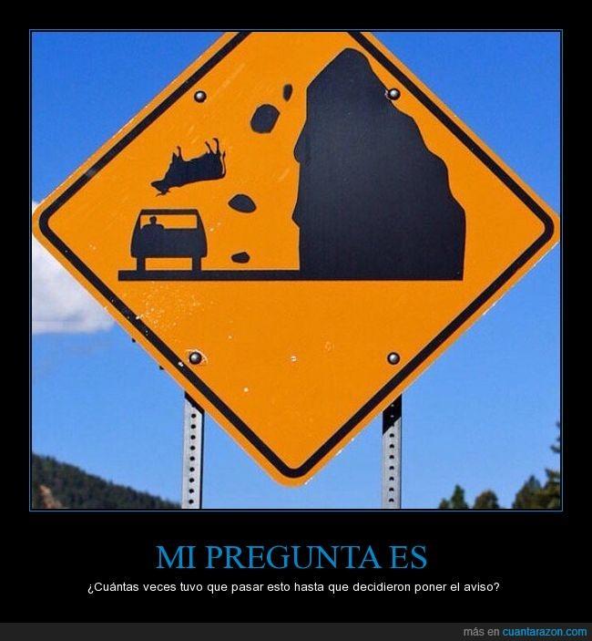 accidente,aviso,caer,coche,desprendimiento,pared,pregunta,señal,vaca