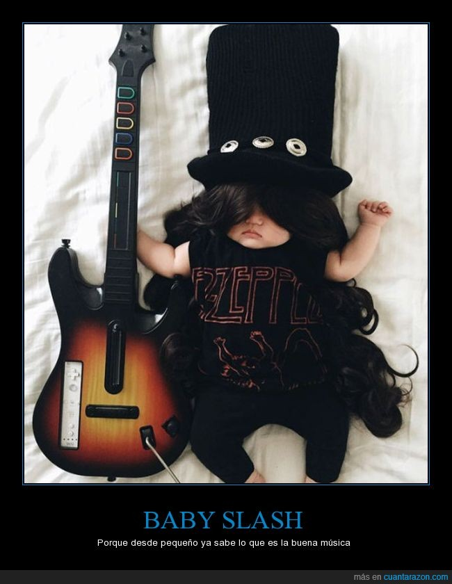 bebé,dormir,guitar hero,guitarra,pelo,Slash