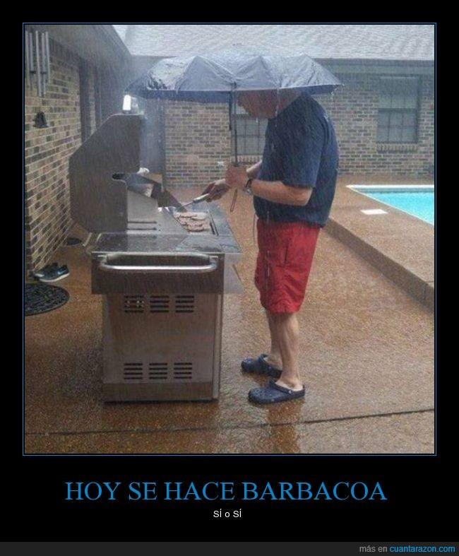 barbacoa,carne,lluvia,paraguas,tapar