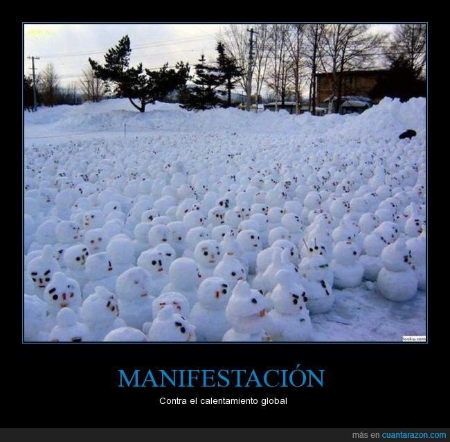 calentamiento global,muñecos de nieve,nieve