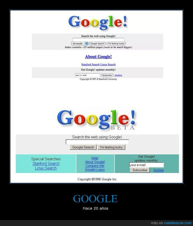 1996,20 años,google,homepage