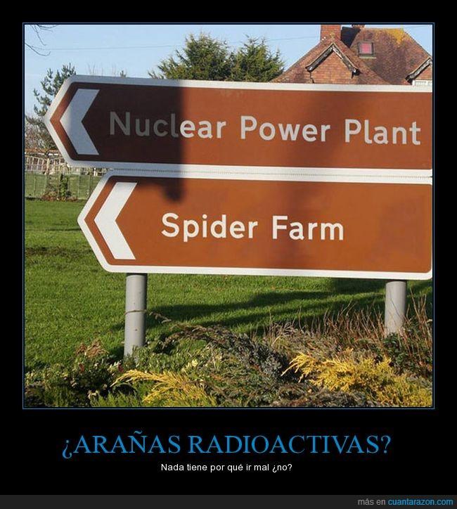 granja de arañas,planta nuclear,radioactividad,superpoderes