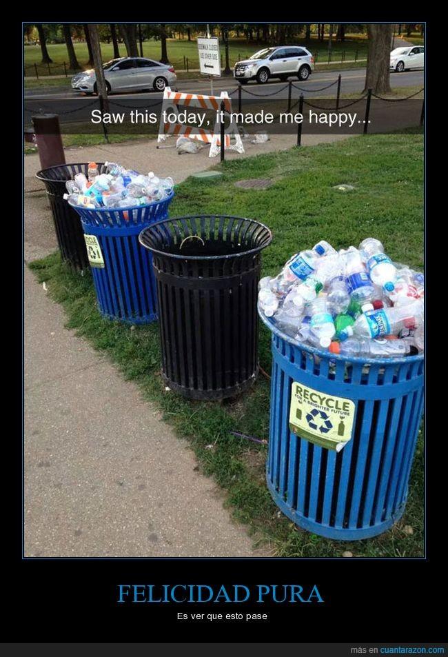 botellas,felicidad,reciclaje,reciclar