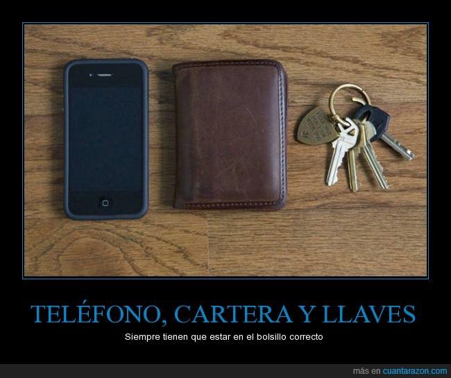 bolsillo,cartera,correcto,llaves,orden,pantalón,teléfono