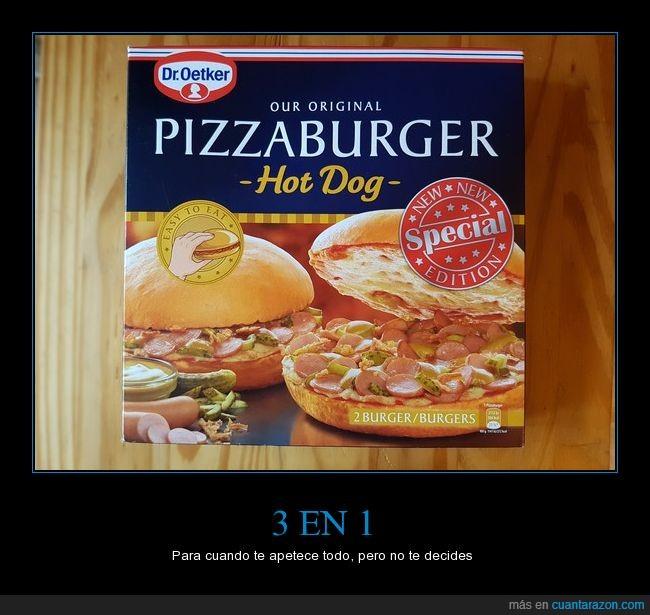 3 en 1,aberración,burger,combo,dr. Oetker,hambre,hamburguesa,hot dog,indecisos,perrito caliente,pizza