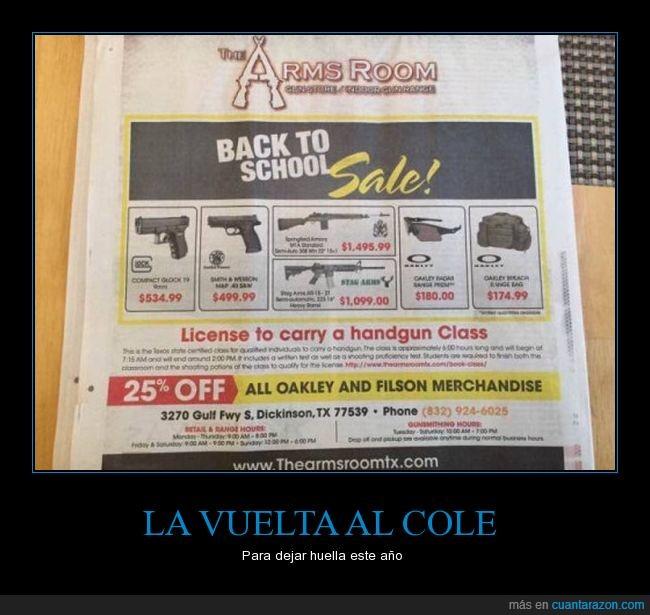 anuncio,armas,escuela,periódico
