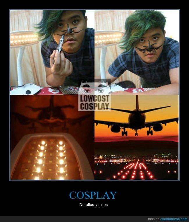 aterrizaje,avión,cosplay