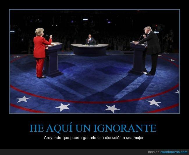 debate,Donald Trump,elecciones,Estados Unidos,Hillary Clinton,ignorante,mujer
