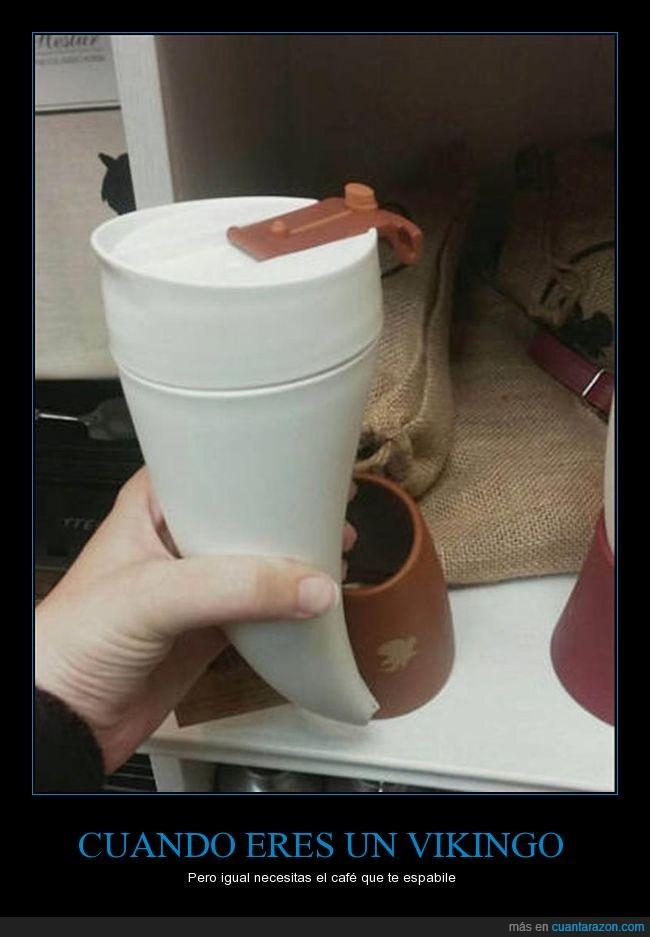 cafe,cuerno,espabilar,vikingo
