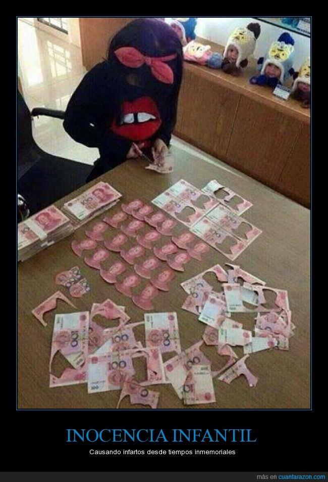 Billetes,dinero,niños,recorte