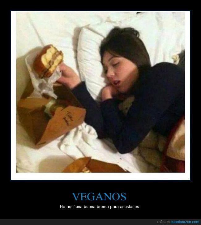 chica,comer,hamburguesa,humor,jeje,vegano