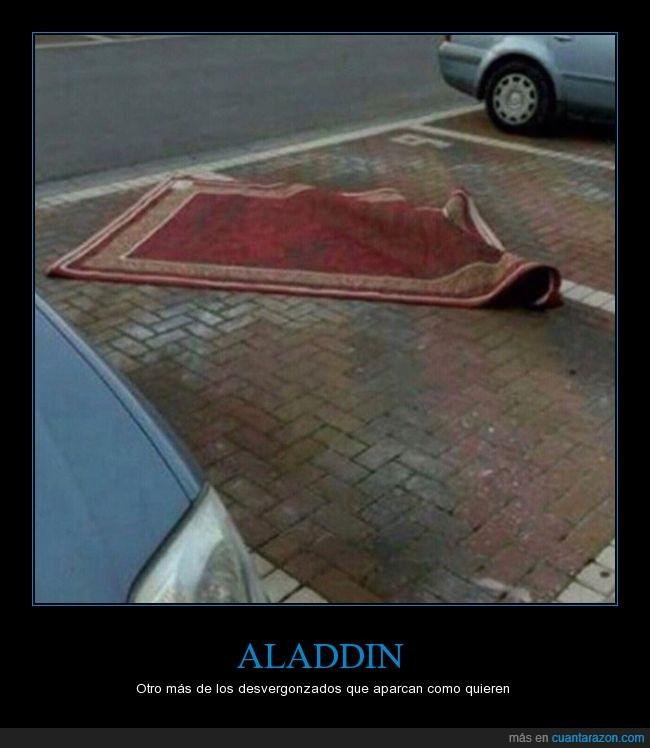 aladdin,alfombra voladora,aparcar,parking
