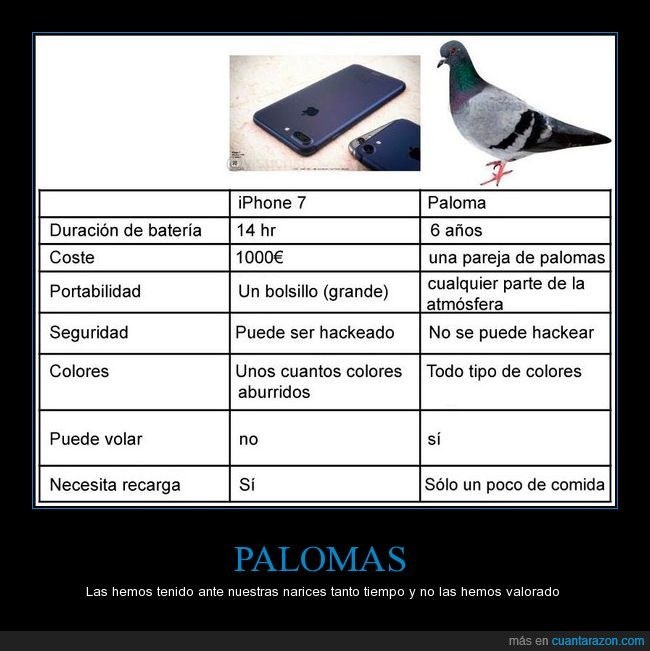 comparativa,iphone 7,paloma