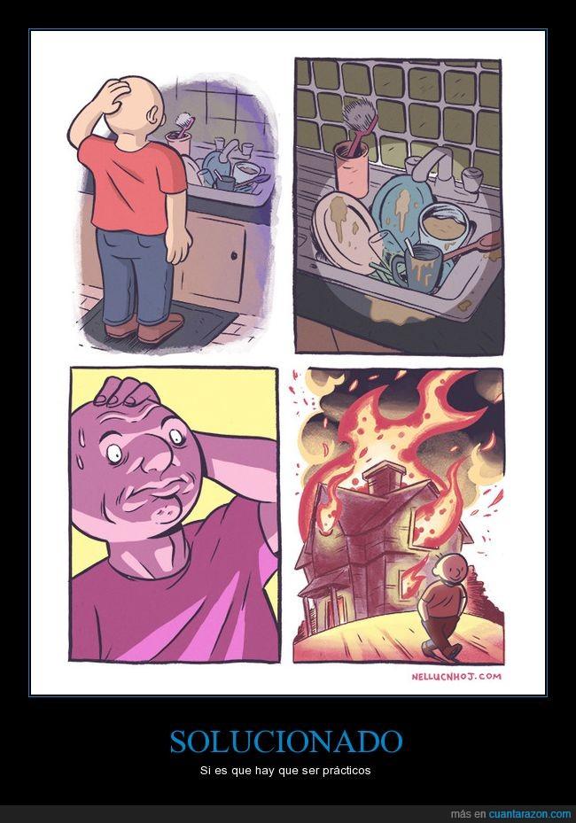 fuego,platos,quemar