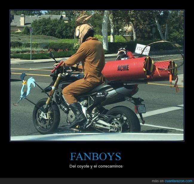 correcaminos,coyote,motocicleta,Warner