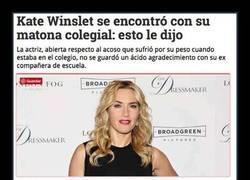 Enlace a Kate Winslet se encontró con quien le hacía bullying en el colegio y le dijo esto