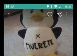 Enlace a Pone a la venta en Wallapop este pingüino con un inquietante mensaje
