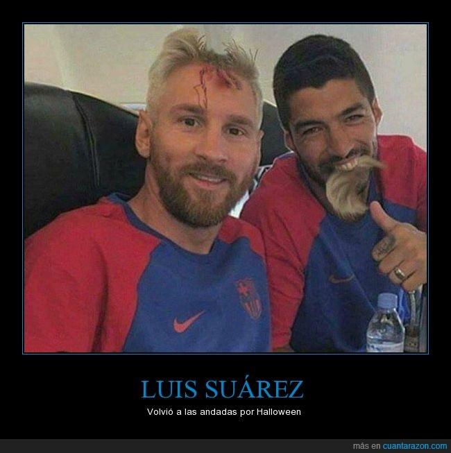 disfraz,halloween,humor,Luis Suarez,Messi,mordida