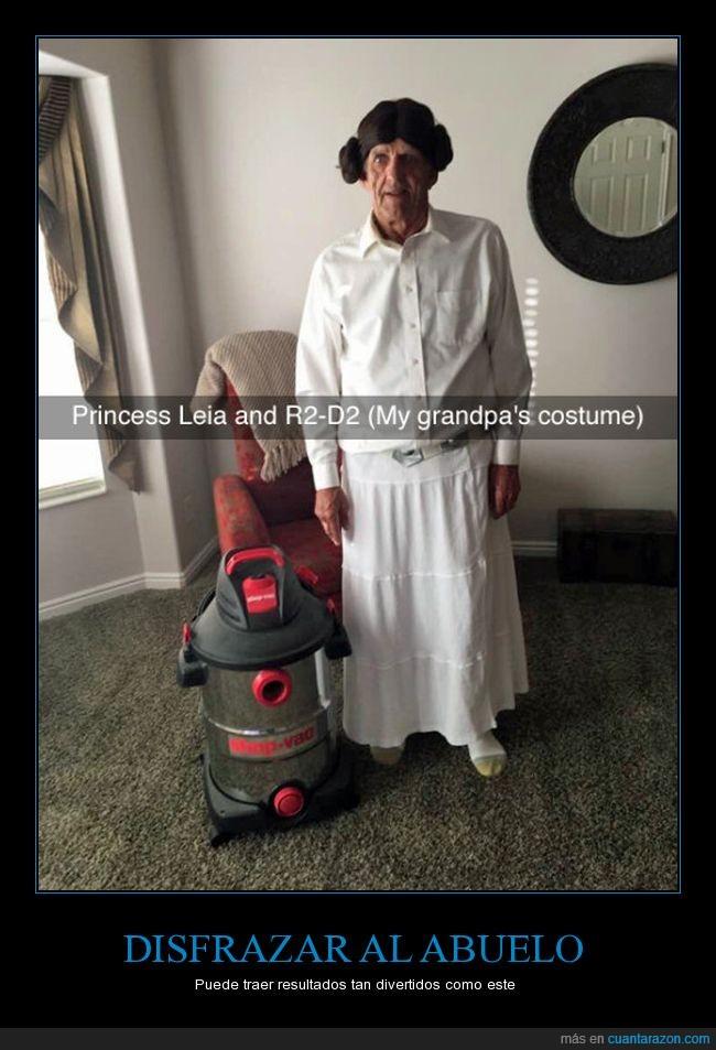 abuelo,aspiradora,disfraz,Princesa leia,R2D2,star wars