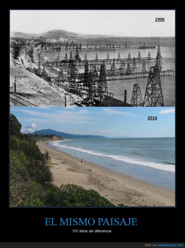 California,cambio,petróleo,plataformas,playa,Santa Barbara