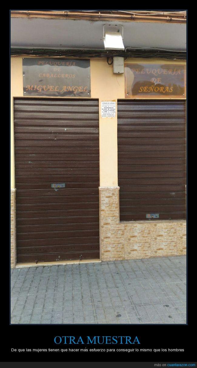 entrada,hombres,mujeres,peluquería,puerta