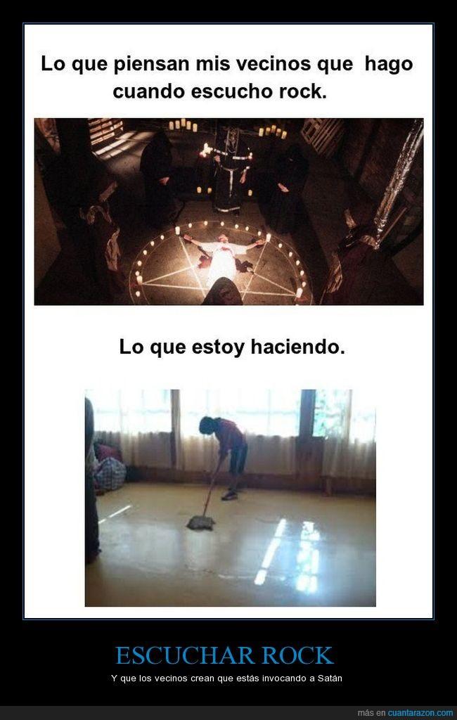 limpiar el piso,musica,rock,satan,vecinos