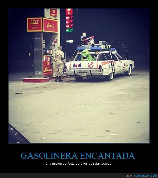 cazafantasmas,coche,estación,fantasmas,gasolinera