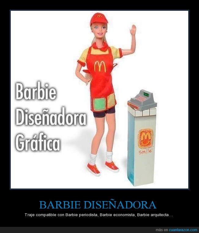 barbie,mcdonalds,sin trabajo,traje