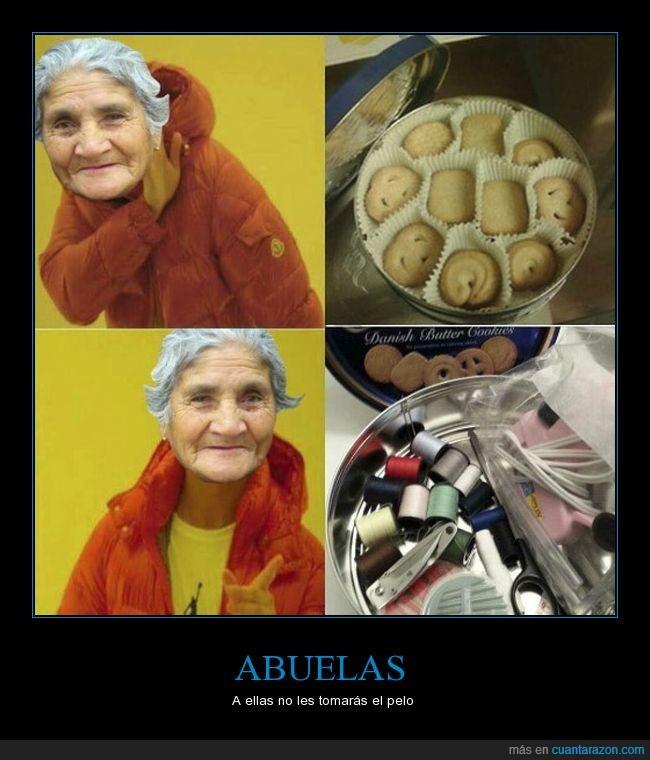 abuelas,caja,galletas,hilos