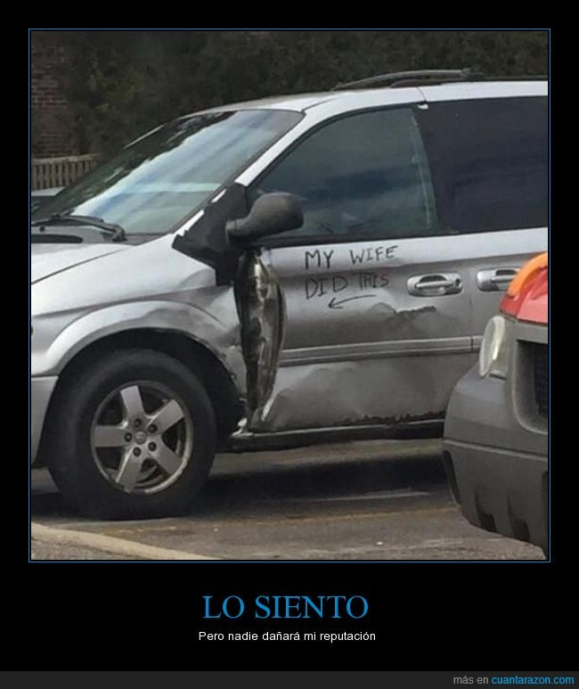bollo,coche,daño,golpe,my wife did this